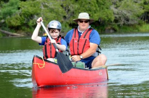 Father and son canoing