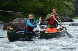 Lively water on the East Branch of the Penobscot River canoe trip