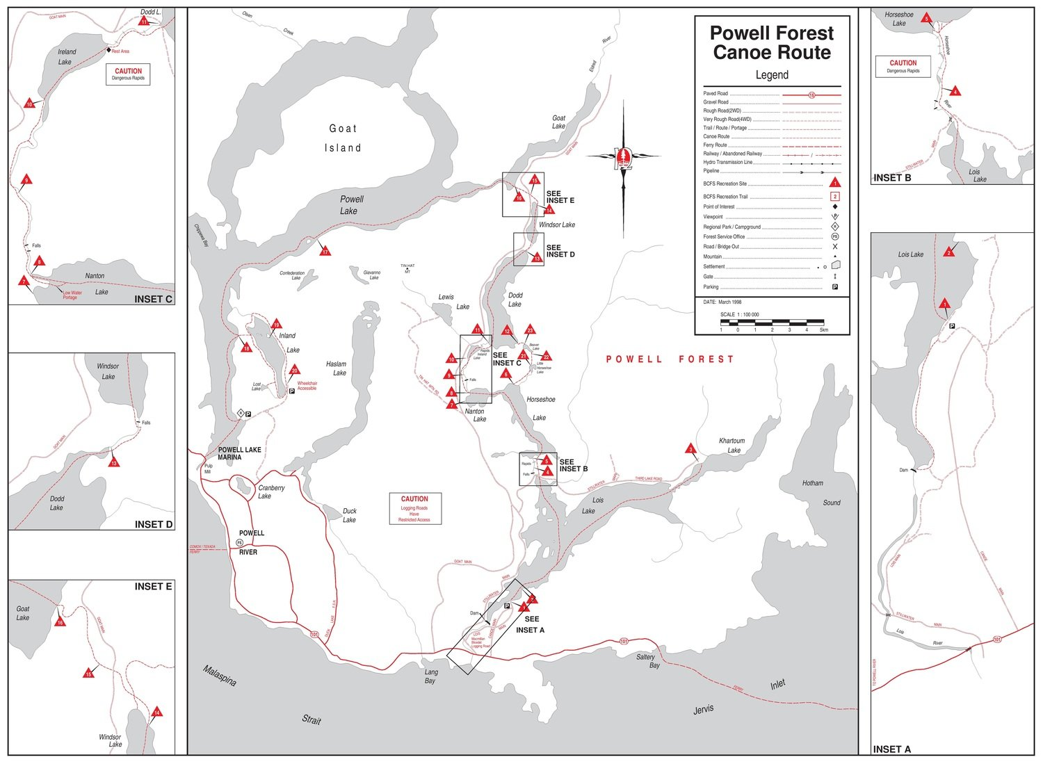 Powell forest canoe route circuit map canoe kayak vancouver island