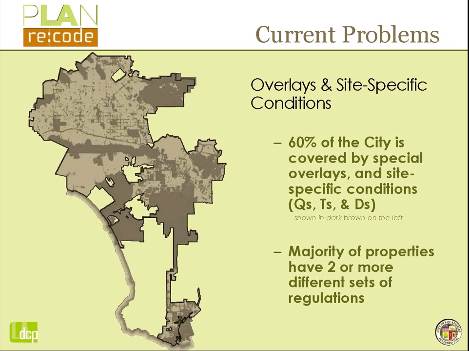 60% of city is subject to special overlays and site-specific conditions as well as different and sometimes competing sets of regulations. (The darker brown areas). Source: City Planning