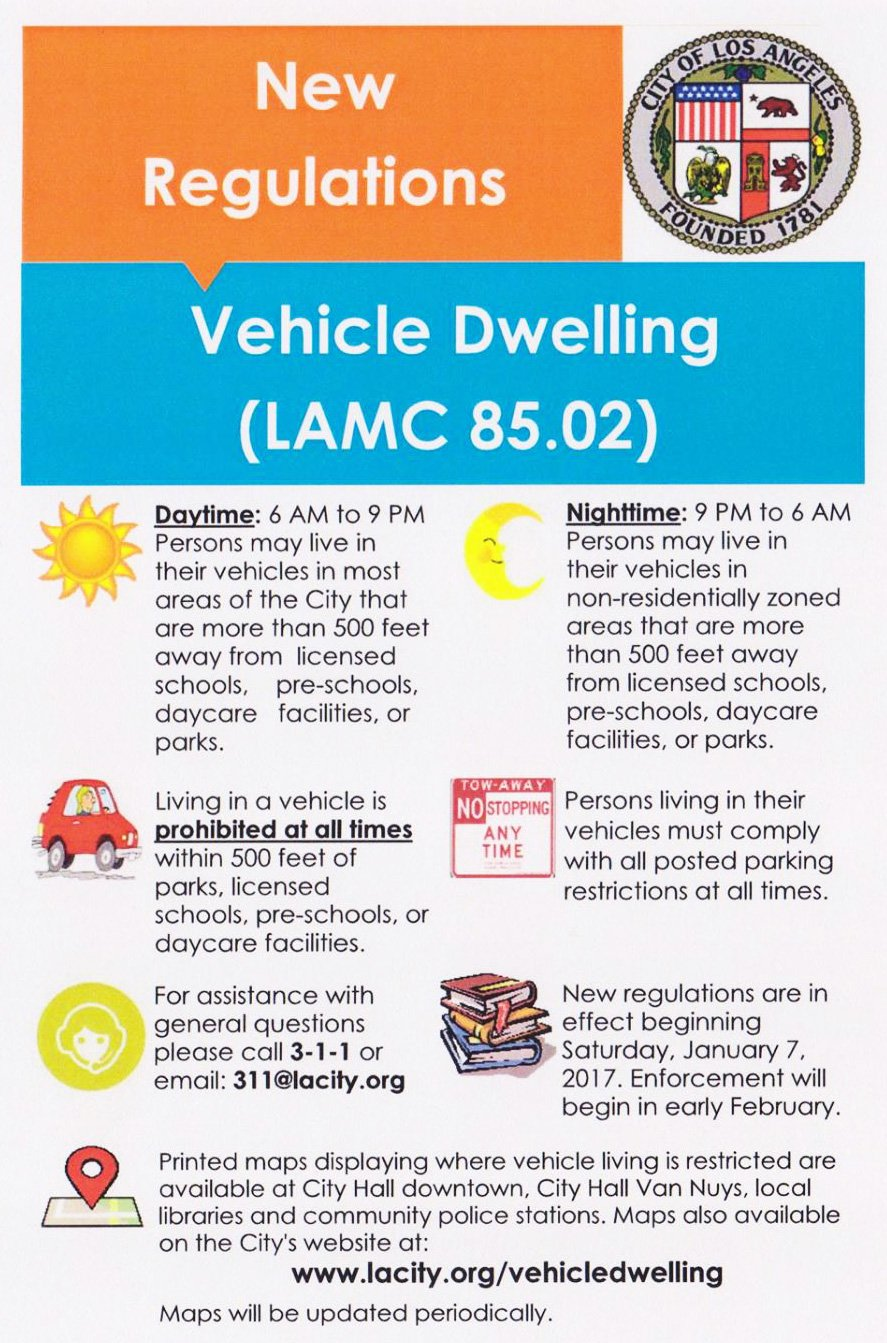 Los Angeles Municipal Code (LAMC) 85.02 – Vehicle Dwelling