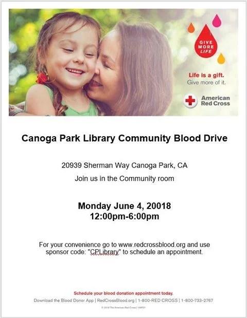 Canoga Park Library Blood Drive – June 4