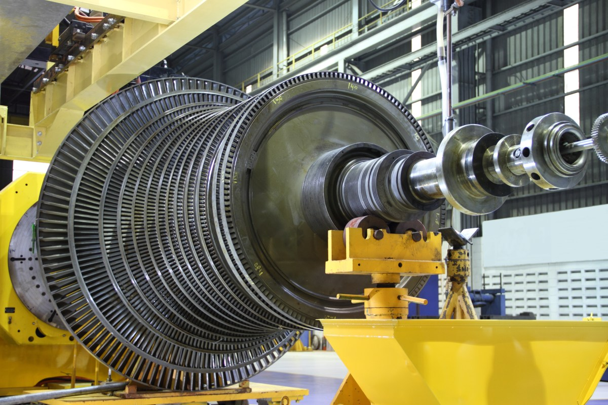 Industrial steam turbine at the workshop