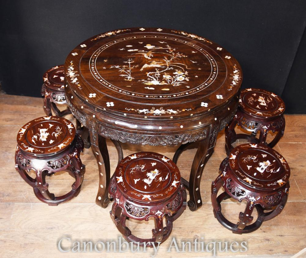 Antique Chinese Hardwood Table Stool Dining Set Mother Of