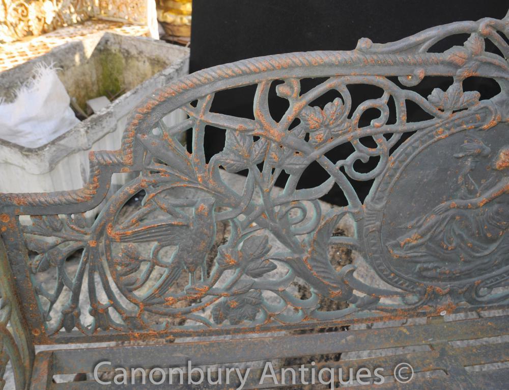 English Victorian Cast Iron Garden Bench Architectural Seat