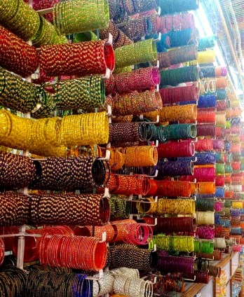 A bangle shop in Delhi, India
