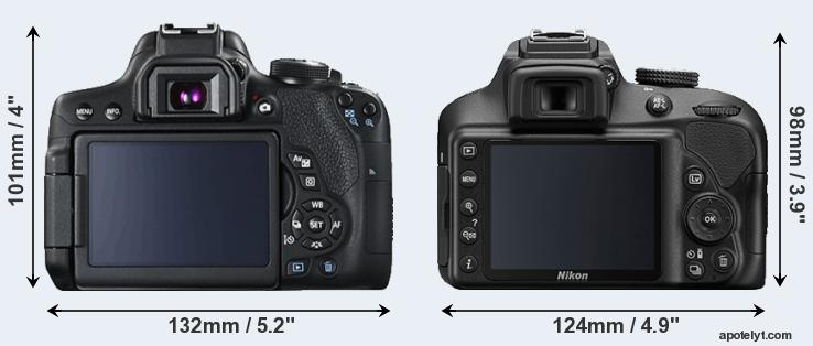 Nikon D3400 vs Canon T6i size comparison