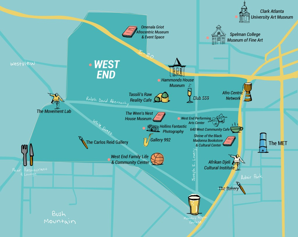 A map of West End's cultural institutions of note