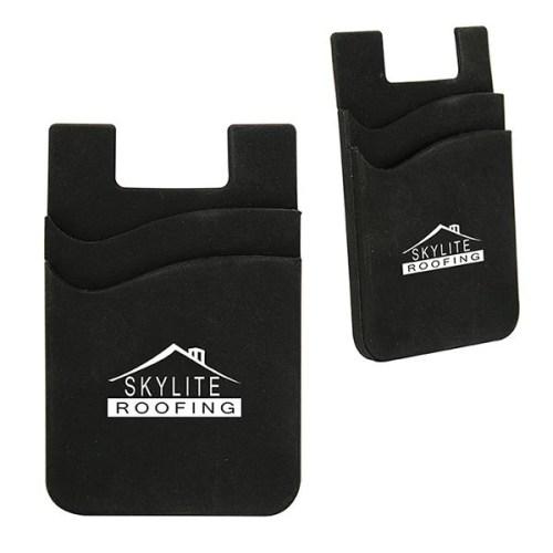 Dual Pocket Silicone Phone Wallet - black