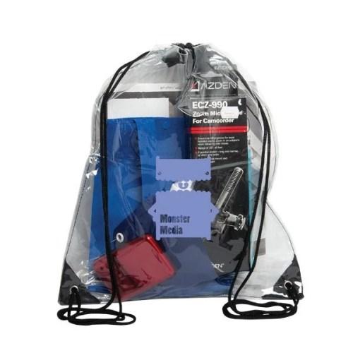 Custom Clear Drawstring Bag - black