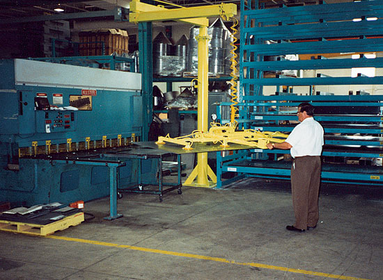 Most Sheet Handlers by Canrack Metal Center Systems pull double duty for machine feed and for sheet order filling.