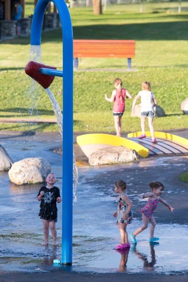 The water spray park in LeBourdais Park, the city's main public park.