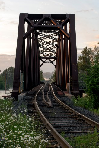 The railway bridge over the Quesnel River.