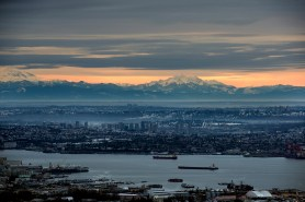 Vancouver harbour basin out towards Mount Baker and the Twin Sisters range in the USA.