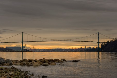 Lions' Gate Bridge in the early morning light.