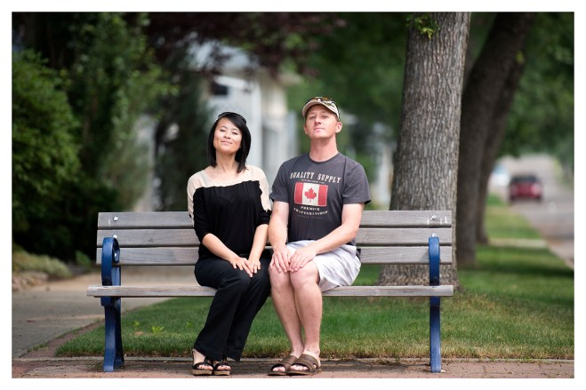 Some random odd couple on a bench (outside the Muttart)