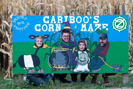 Caleb, his family and a cauldron at the corn maze.