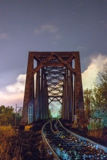 Rail bridge across the Quesnel: Torch-light.