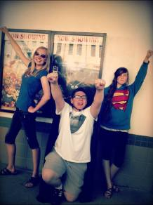 With friends in 2013 at the Superman movie...