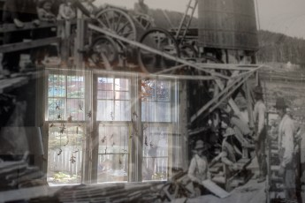 The large window opening onto the garden, reflected in one of the old photos.