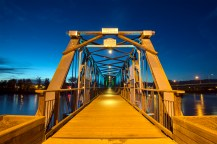 """The Fraser River Footbridge from the west. """"Horses must not exceed walking pace."""""""