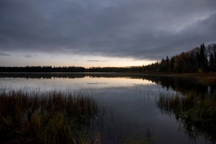 The nondescript Millers Lake, west of Edson.