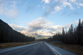 Driving into Jasper National Park - shot through the windshield