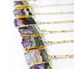 Kei Jewelry - Amethyst slice necklace