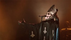 "Here's an awesome shot of Papa Emeritus II from the ""Monstrance Clock"" video."