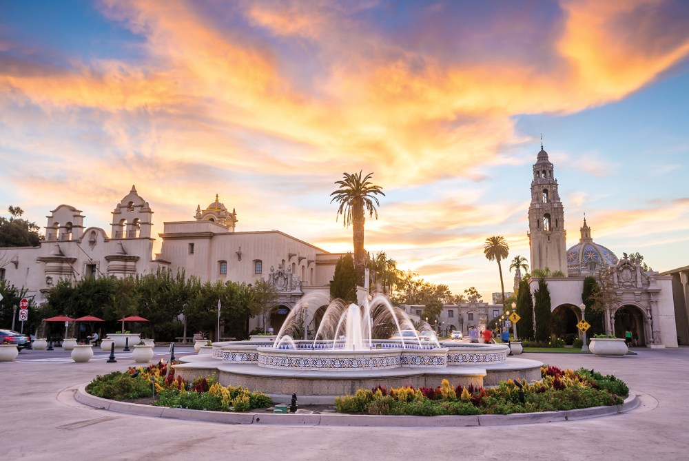 Balboa Park with a water fountain.