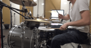 Belio recording real, acoustic drums—a true rarity in progressive metal today