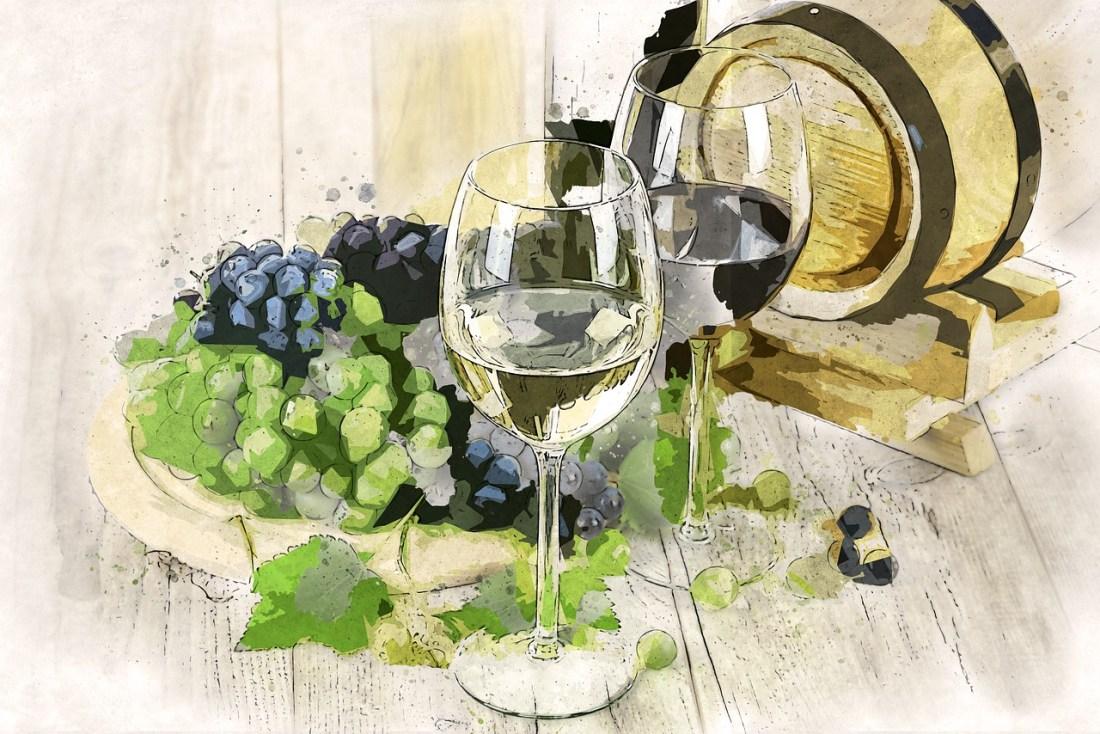 Vino bianco e rosso - disegno