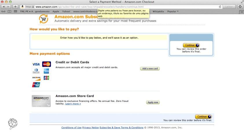 tela Amazon escolher cartao