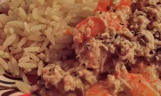 Receita de camarão com molho de caranguejo