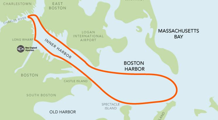Trajeto do passeio de barco em Boston