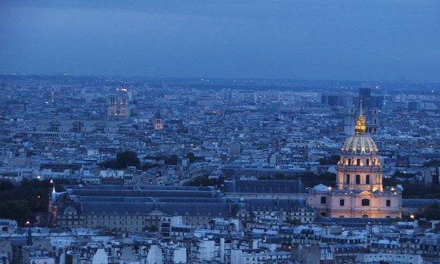 Paris do alto da Torre Eiffel e do Arco do Triunfo