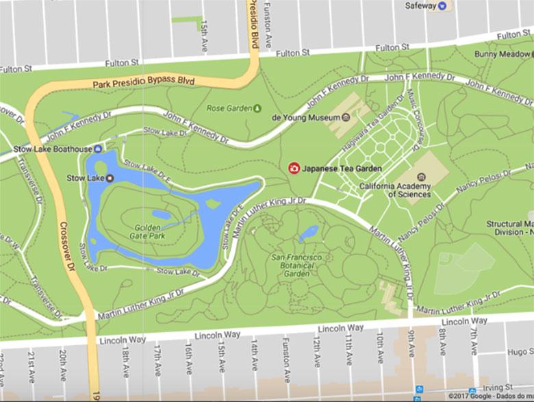 Mapa do Jardim Japonês em San Francisco