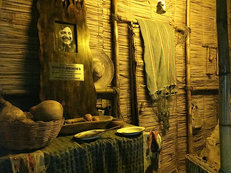 Espaço dedicado a Chico Mendes no Aquário de São Paulo