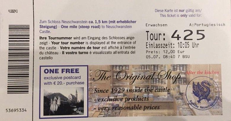 Ticket para visitação ao Castelo de Neuschwastein
