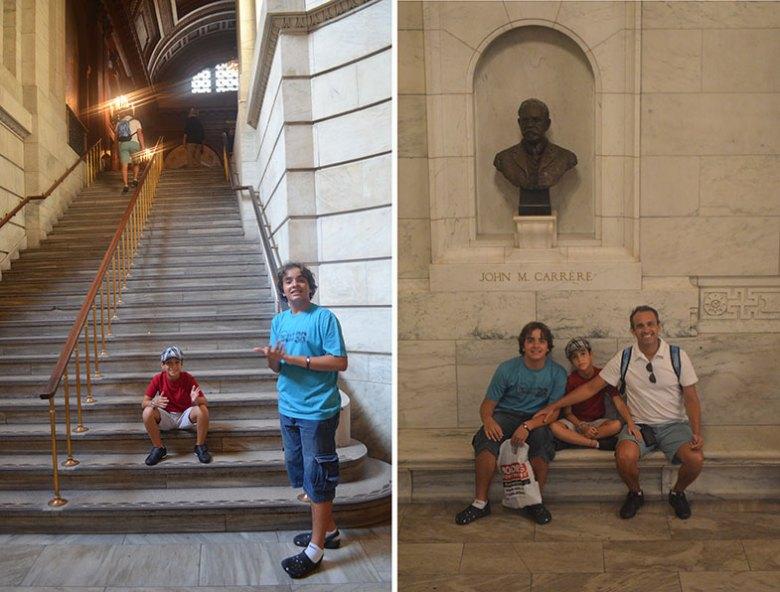 Escada interna da Biblioteca Pública de New York