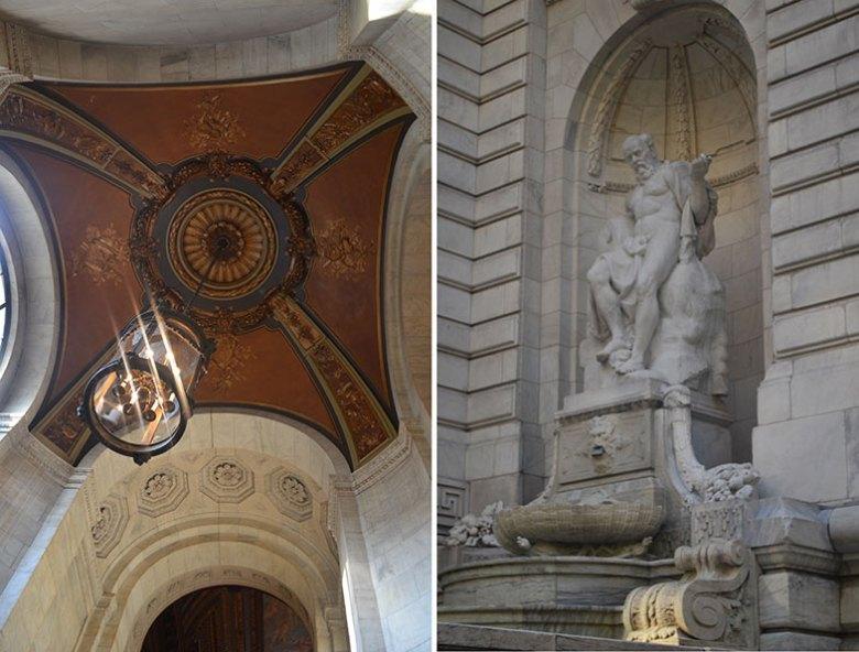 Detalhes do prédio da Biblioteca Pública de New York