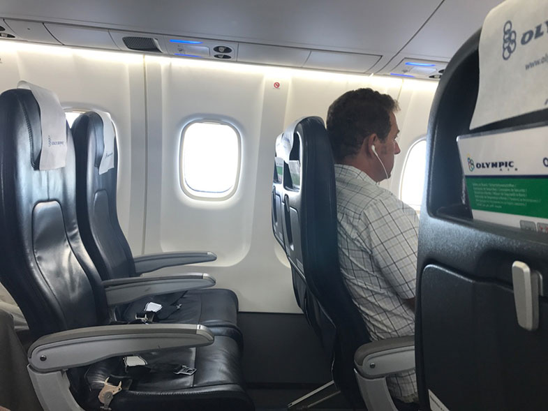 Interior de um ATR da Olympic Air na Grécia