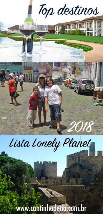 Lista com top destinos para viagens em 2018 segundo a Lonely Planet