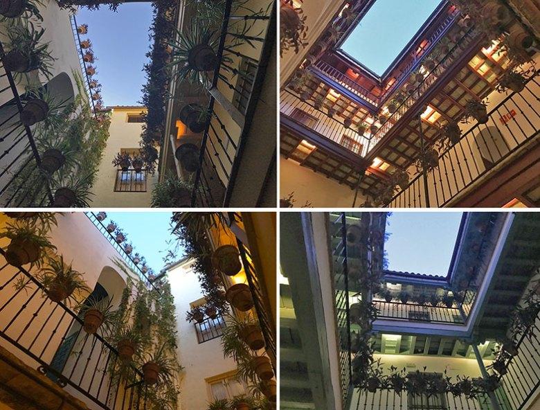Pátios abertos do hotel em Sevilha