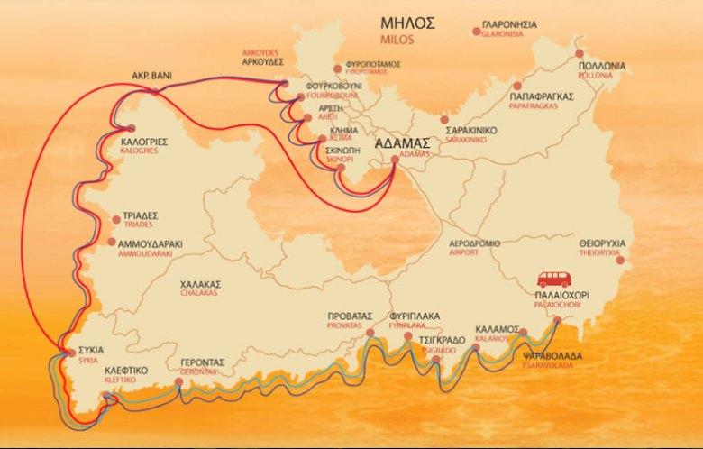 Mapa das rotas de passeios para Klefitko