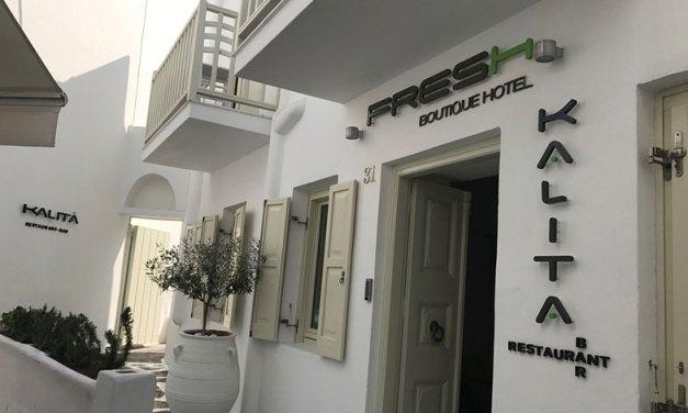 Hotel em Mykonos com localização e café excelentes