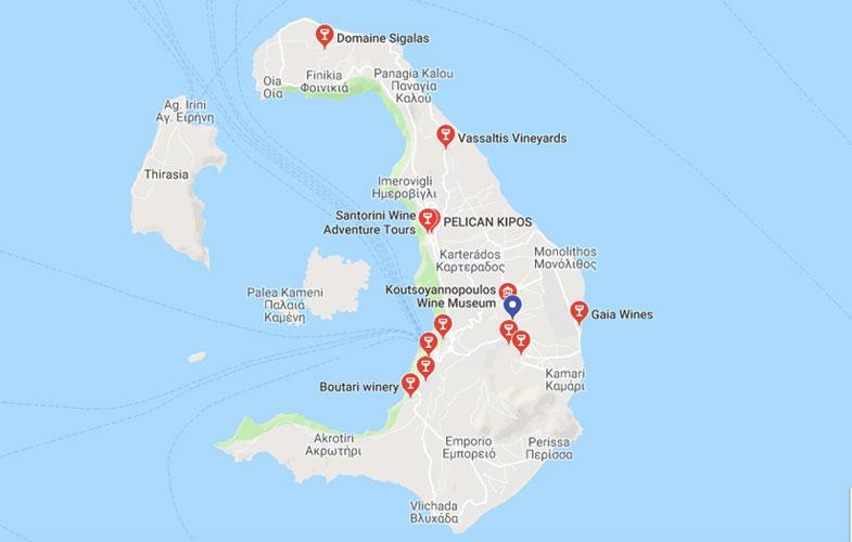 Vinícola em Santorini mapa