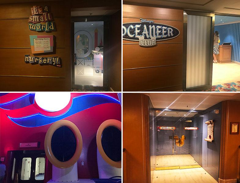 Clubes e enfermaria no cruzeiro Disney Wonder
