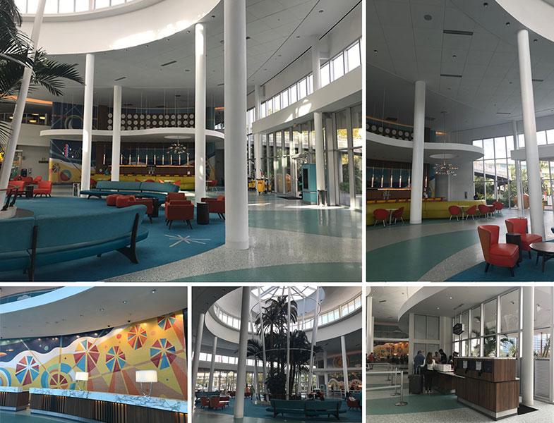 Lobby de um hotel dentro da Universal