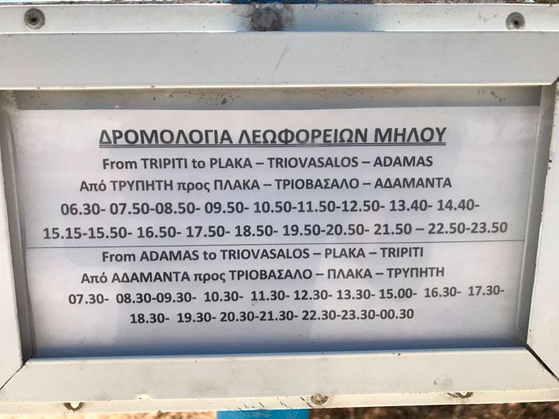 Transporte público em Milos